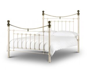Victoria Stone White & Brass Double Bed