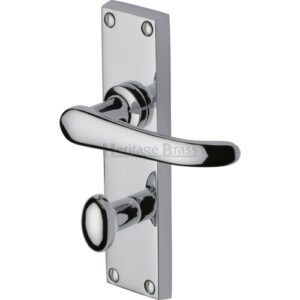 Windsor Bathroom Door Handle Heritage Brass Finish: Polished Chrome