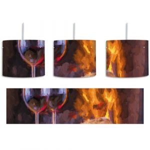 Wine and Baguette at the Fireplace 1 Light Drum Pendant East Urban Home