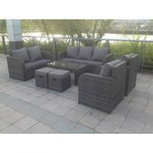 Arnold 9 Seater Rattan Sofa Set with Cushions Kampen Living
