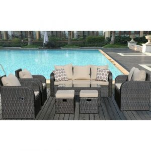 Arnold 9 Seater Rattan Sofa Set with Cushions Kampen Living Cushion Colour: Brown/Beige