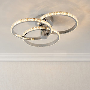 Aura Chrome effect 3 Lamp Ceiling light