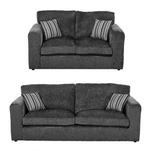 Budron 2 Piece Sofa Set ClassicLiving Upholstery: Dark Grey
