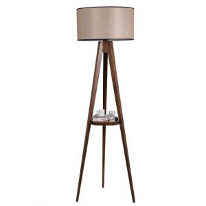 Bynoe 153cm Tray Table Floor Lamp Ebern Designs Shade Colour: Beige