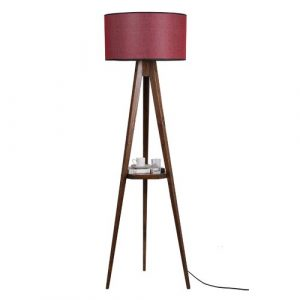 Bynoe 153cm Tray Table Floor Lamp Ebern Designs Shade Colour: Red