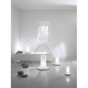 Cell Plug-In LED Outdoor Floor Lamp Karman Finish: White
