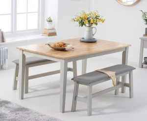 Chiltern 150cm Oak and Grey Dining Table Set with Fabric Benches