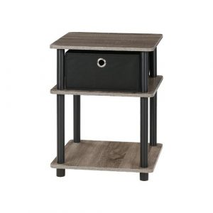 Crandell Side Table with Storage Symple Stuff Colour: French Oak Grey