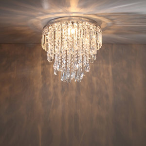 Despina Chrome effect 3 Lamp Crystal Ceiling light
