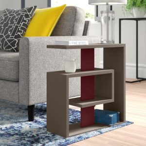 Dottie Side Table Zipcode Design Colour: Light Mocca/Burgundy