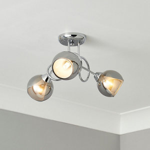 Elevate Chrome & smoked glass effect 3 Lamp Ceiling light