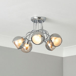 Elevate Chrome & smoked glass effect 5 Lamp Ceiling light