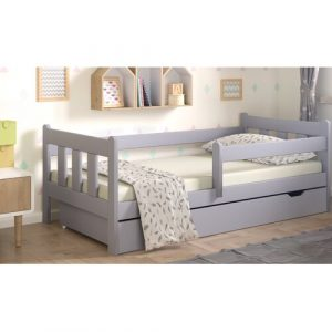 European Toddle Cabin Bed with Drawer Nordville Bed Size: European Toddler (80 x 160 cm), Farbe (Bettgestell): Grey/Brown/Blue