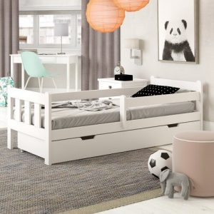 European Toddle Cabin Bed with Drawer Nordville Bed Size: European Toddler (80 x 180 cm), Farbe (Bettgestell): White