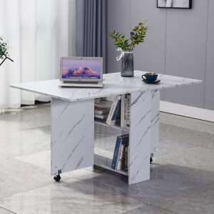 Extendable Dining Table insma Colour: White Marble