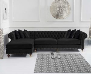 Flora Black Velvet Left Facing Chaise Sofa