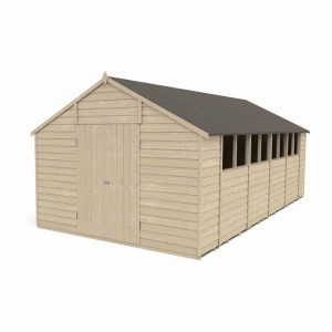 Forest Garden 10 x 20ft Overlap Pressure Treated Double Door Apex Garden Shed Mixed Softwood