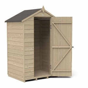 Forest Garden 4 x 3ft Overlap Pressure Treated Apex Garden Shed, No Window Mixed Softwood