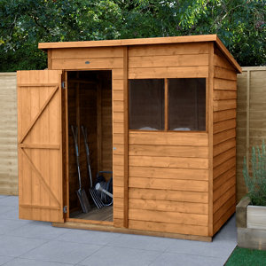 Forest Garden 6x4 Pent Overlap Wooden Shed - Assembly service included