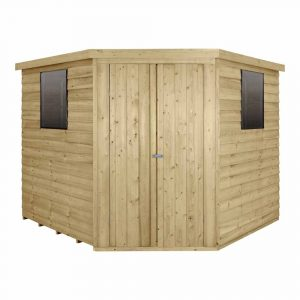 Forest Garden 8 x 8ft Overlap Pressure Treated Corner Garden Shed Mixed Softwood