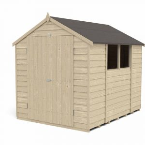 Forest Garden Forest Overlap Press Treat 8x6 Apex Shed Double Door Wood