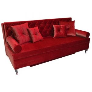 Glamour 3 Seater Fold Out Sofa Bed Happy Barok Upholstery Colour: Burgundy