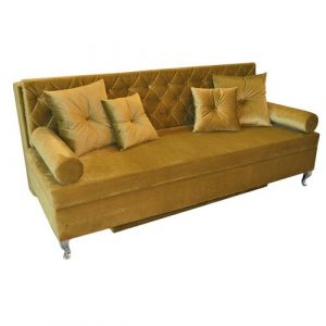 Glamour 3 Seater Fold Out Sofa Bed Happy Barok Upholstery Colour: Gold