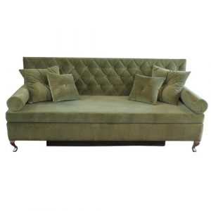 Glamour 3 Seater Fold Out Sofa Bed Happy Barok Upholstery Colour: Old Green
