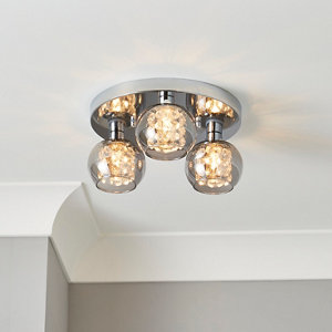 Guava Beaded Chrome & smoked glass effect 3 Lamp Bathroom Ceiling light