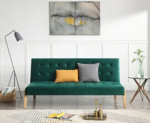 Jericho Green Velvet Sofa Bed