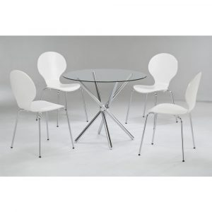 LPD Limited Casa White Dining Table with 4 Chairs