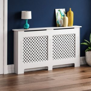 (Large) Oxford Radiator Cover White Grill Cabinet Guard
