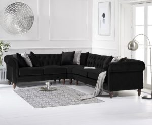 Limoges Medium Black Velvet Corner Sofa