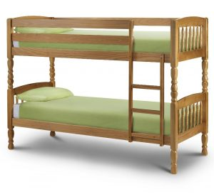 Lincoln Antique Solid Pine Wooden Bunk Bed Frame - 3ft Single