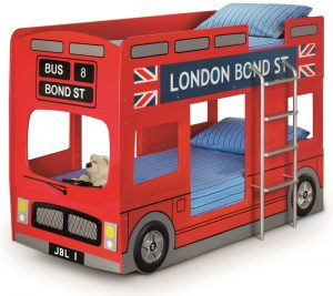 London Bus Red Wooden Kids Theme Bunk Bed Frame - 3ft Single