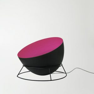 Luna 27.5cm Floor Lamp In-es.artdesign Base Finish: Black, Shade Colour: Black/Magenta
