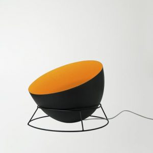 Luna 27.5cm Floor Lamp In-es.artdesign Base Finish: Black, Shade Colour: Black/Orange