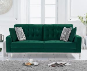 Lydia Green Velvet 3 Seater Sofa
