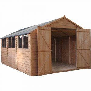 Mercia Garden Products Mercia 15 x 10ft Overlap Workshop Apex Shed Wood