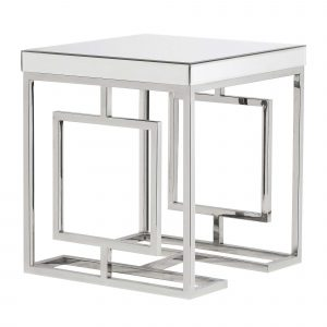 Mirrored Side Table, Silver
