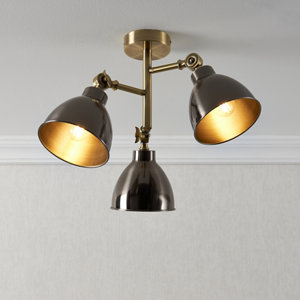 Nobo Matt Antique brass effect 3 Lamp Ceiling light