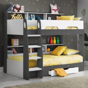Orion Grey and White Wooden Storage Bunk Bed Frame Only - 3ft Single