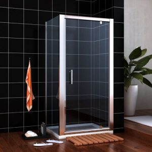 Piers Glass Square Shower Enclosure with Tray Belfry Bathroom Size: 1850mm H x 760mm W x 760mm D
