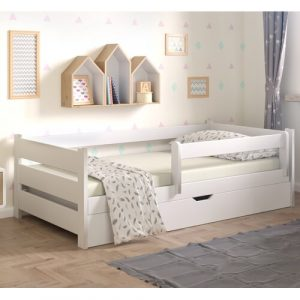 Primo Toddler Bed with Drawer Nordville Size: European Toddler (80 x 160 cm), Colour (Bed Frame): White