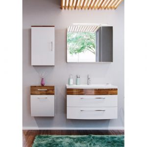 Rima 820mm Bathroom Furniture Suite with LED Mirror Belfry Bathroom Furniture Finish (Front/Body): White/Medium Wood