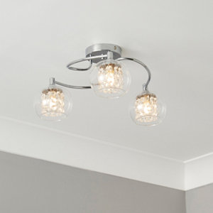 Roma Beaded Transparent Chrome effect 3 Lamp Ceiling light