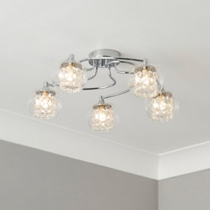 Roma Beaded Transparent Chrome effect 5 Lamp Ceiling light