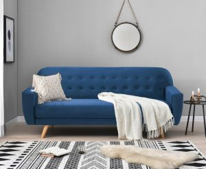 Scala Blue Velvet Sofa Bed