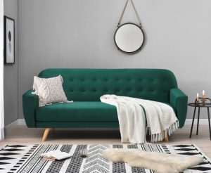 Scala Green Velvet Sofa Bed