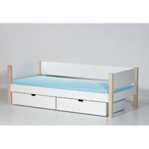 Sif European Single Frame Bed with Drawers Manis-h Colour: White/Beech